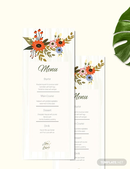 Small Flower Wedding Menu Card Download