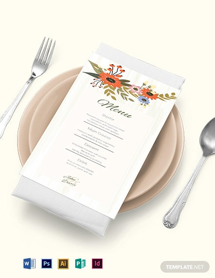 Small Flower Wedding Menu Card Template