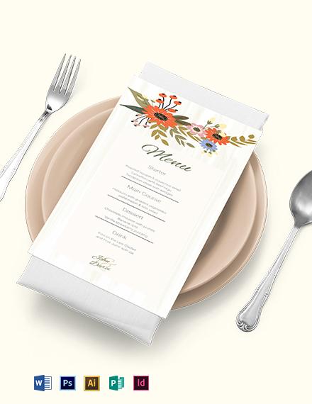 Small Flower Wedding Menu Card Template