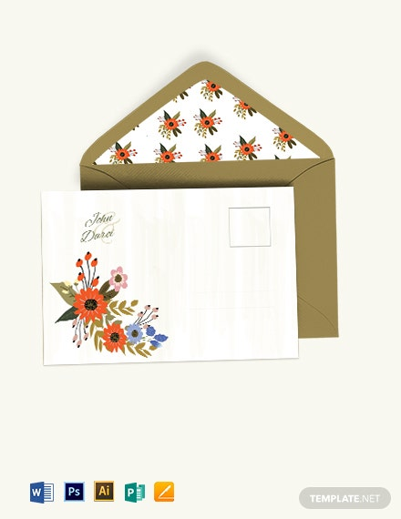 Small Flower Wedding Post Card Template