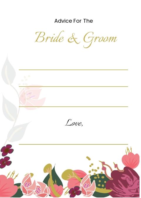 Pink Floral Wedding Advice Card Template.jpe