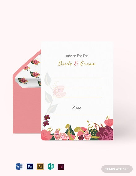 Pink Floral Wedding Advice Card Template
