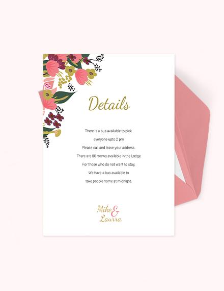 Pink Floral Wedding Details Card Template  Download