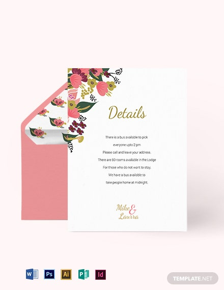 Pink Floral Wedding Details Card Template