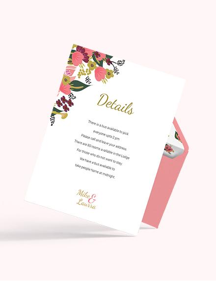 Sample Pink Floral Wedding Details Card Template
