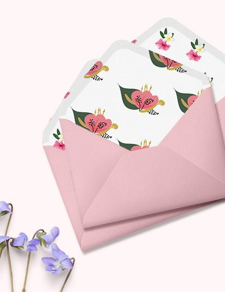 Pink Floral Wedding Envelope Template Download