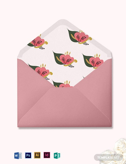 Pink Floral Wedding Envelope Template