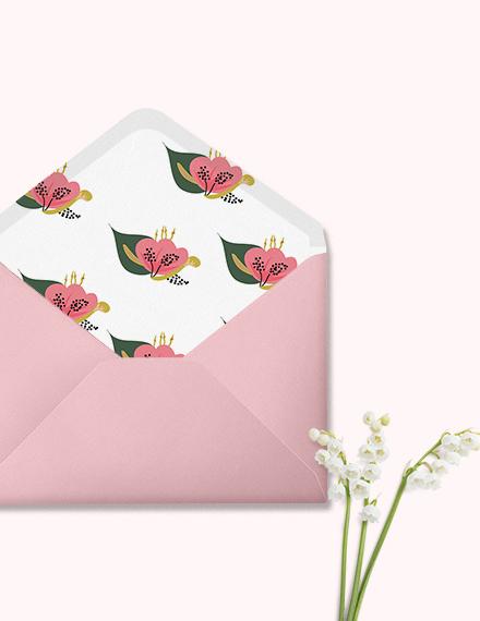 Sample Pink Floral Wedding Envelope Template