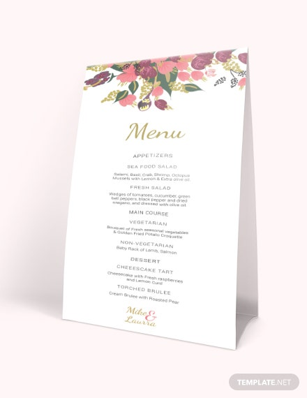 Pink Floral Wedding Menu Card Template Download