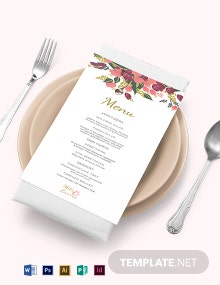 Pink Floral Wedding Menu Card Template