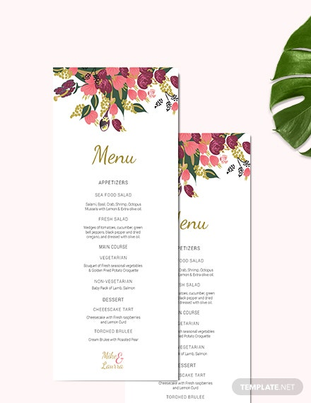 Sample Pink Floral Wedding Menu Card Template