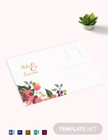 Pink Floral Wedding Post Card Template
