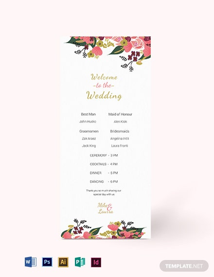 Pink Floral Wedding Program Card Template