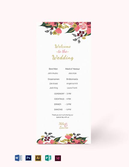 Pink Floral Wedding Program Card Template