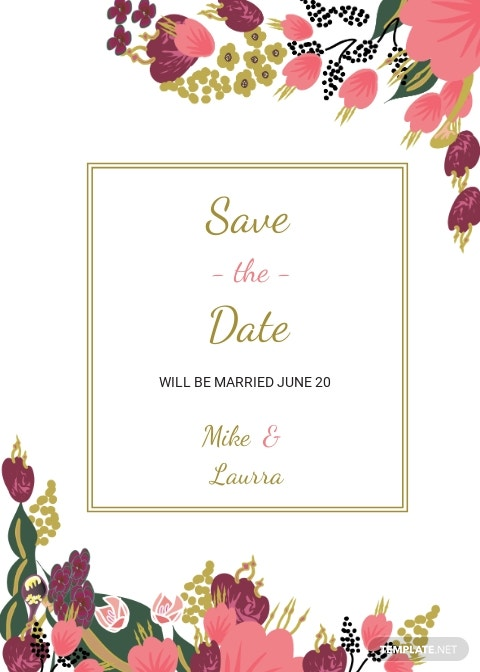Pink Floral Wedding Save The Date Card Template.jpe