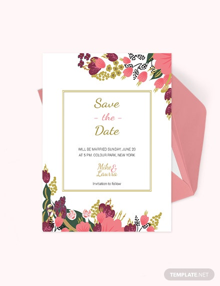 Pink Floral Wedding save The Date Card Template Download