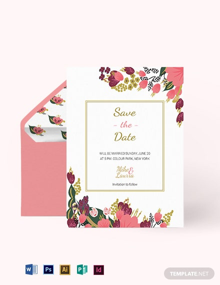 Pink Floral Wedding Save The Date Card Template