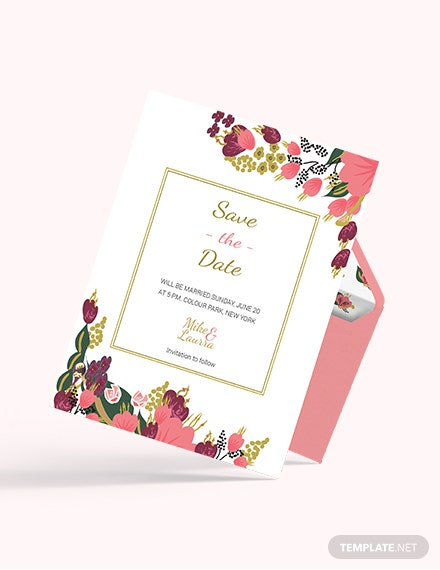 Sample Pink Floral Wedding save The Date Card Template