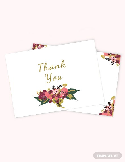 Pink Floral Wedding Thank You Card Template Download