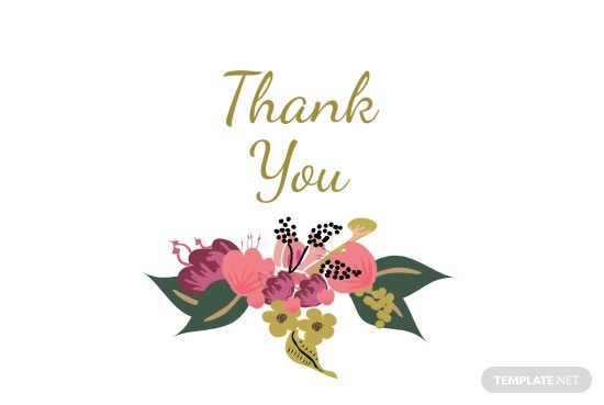 Pink Floral Wedding Thank You Card Template [Free JPG] - Illustrator, InDesign, Word, PSD, Publisher