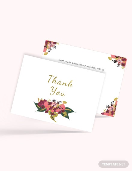 Sample Pink Floral Wedding Thank You Card Template