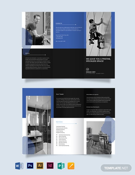 creative cleaning tri fold brochure template