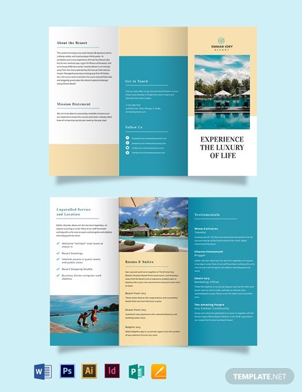 hill resort tri fold brochure template