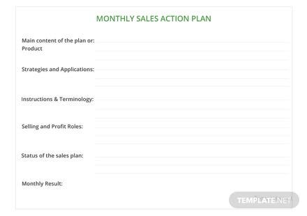 Monthly Sales Action Plan Template