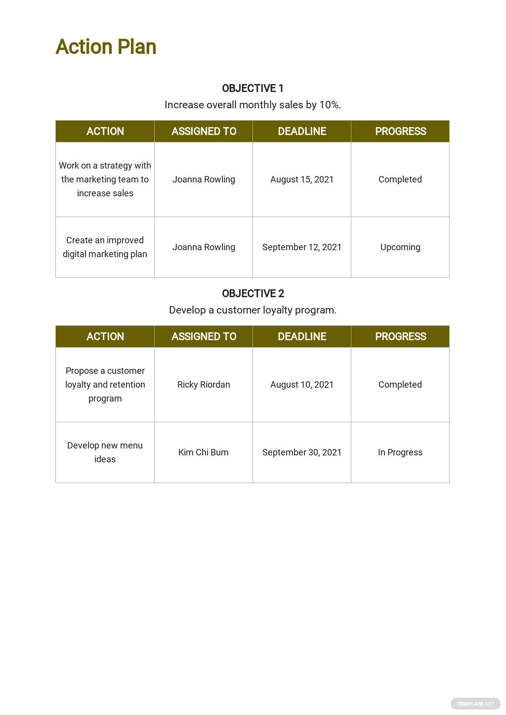 Free Monthly Sales Action Plan Template 3.jpe