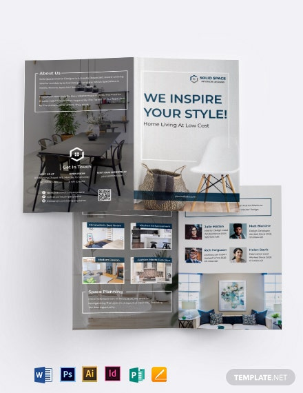 Interior Architect Bi-fold Brochure Template