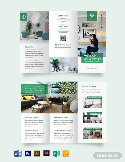 Interior Contractor Tri-Fold Brochure Template
