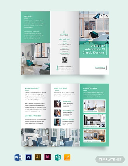 interior design company tri fold brochure template
