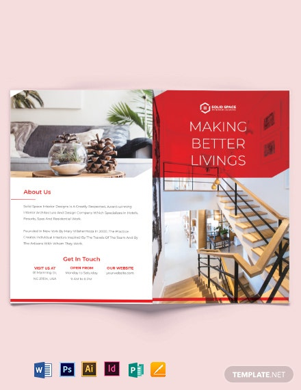 Interior Studio Bi-Fold Brochure Template