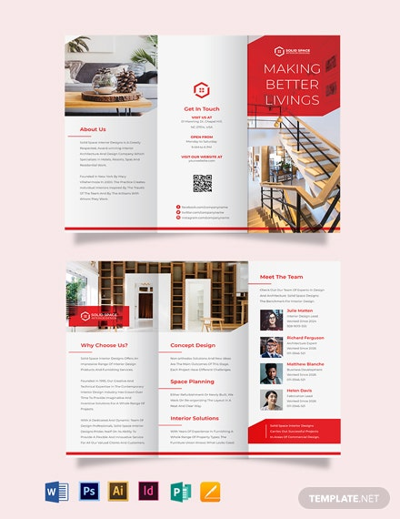 interior studio tri fold brochure template