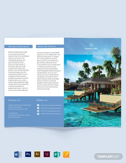 island resort bi fold brochure template
