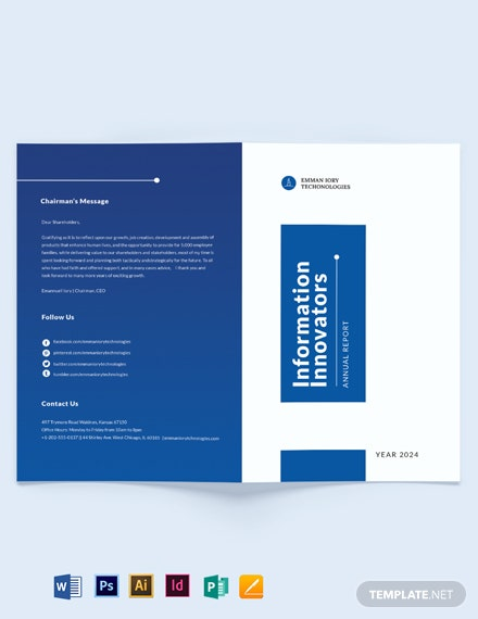 it annual report bi fold brochure template