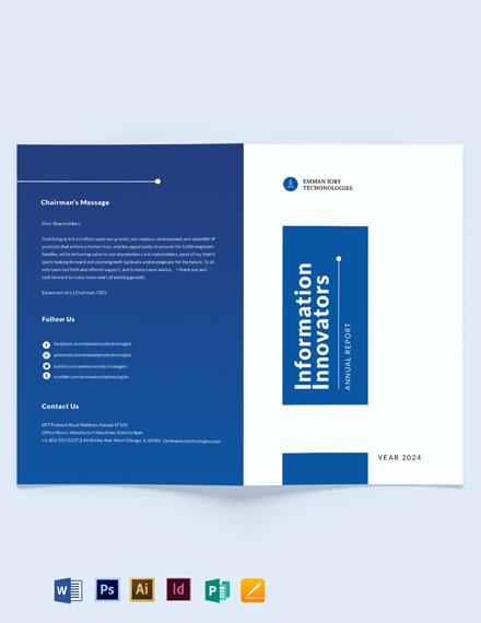 IT Annual Report Bi-Fold Brochure Template