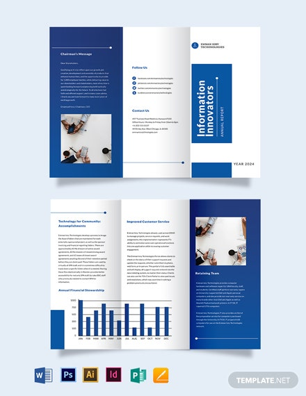 IT Annual Report Tri-Fold Brochure Template