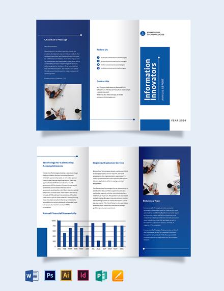 IT Annual Report Tri-Fold Brochure Template