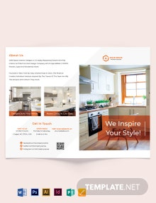 Kitchen Interior Bi-Fold Brochure Template