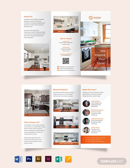 Kitchen Interior Tri-Fold Brochure Template