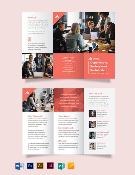 manpower agency tri fold brochure template