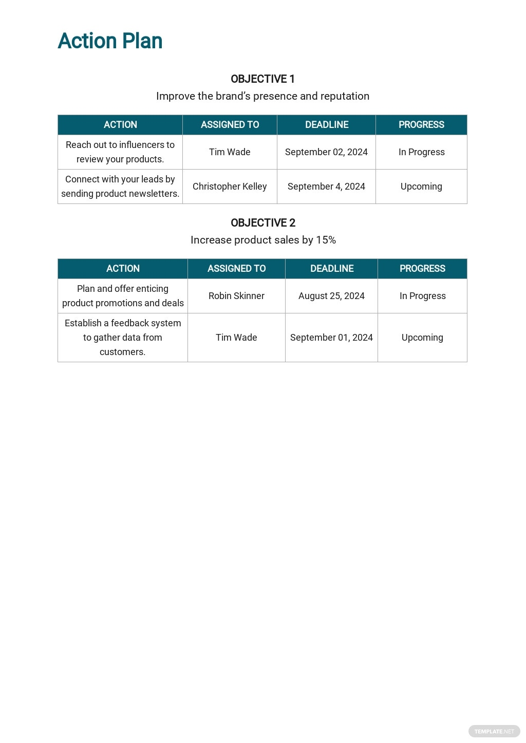 Free Sales and Marketing Action Plan Template 2.jpe