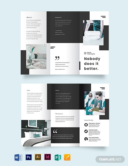 Modern Cleaning Company Tri-Fold Brochure Template
