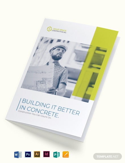 modern construction bi fold brochure template