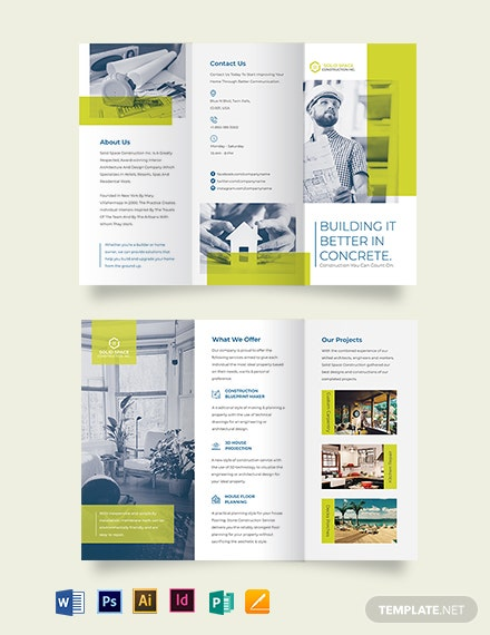 modern construction tri fold brochure template