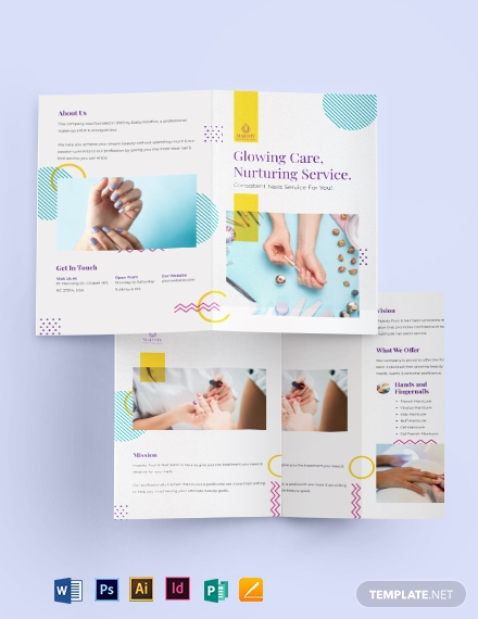 nail spa bi fold brochure template