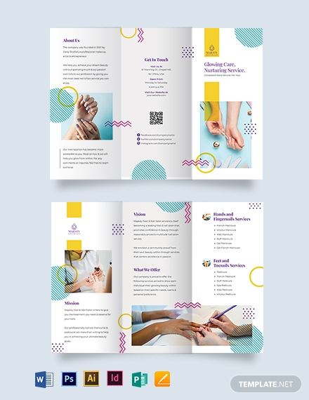 nail spa tri fold brochure template