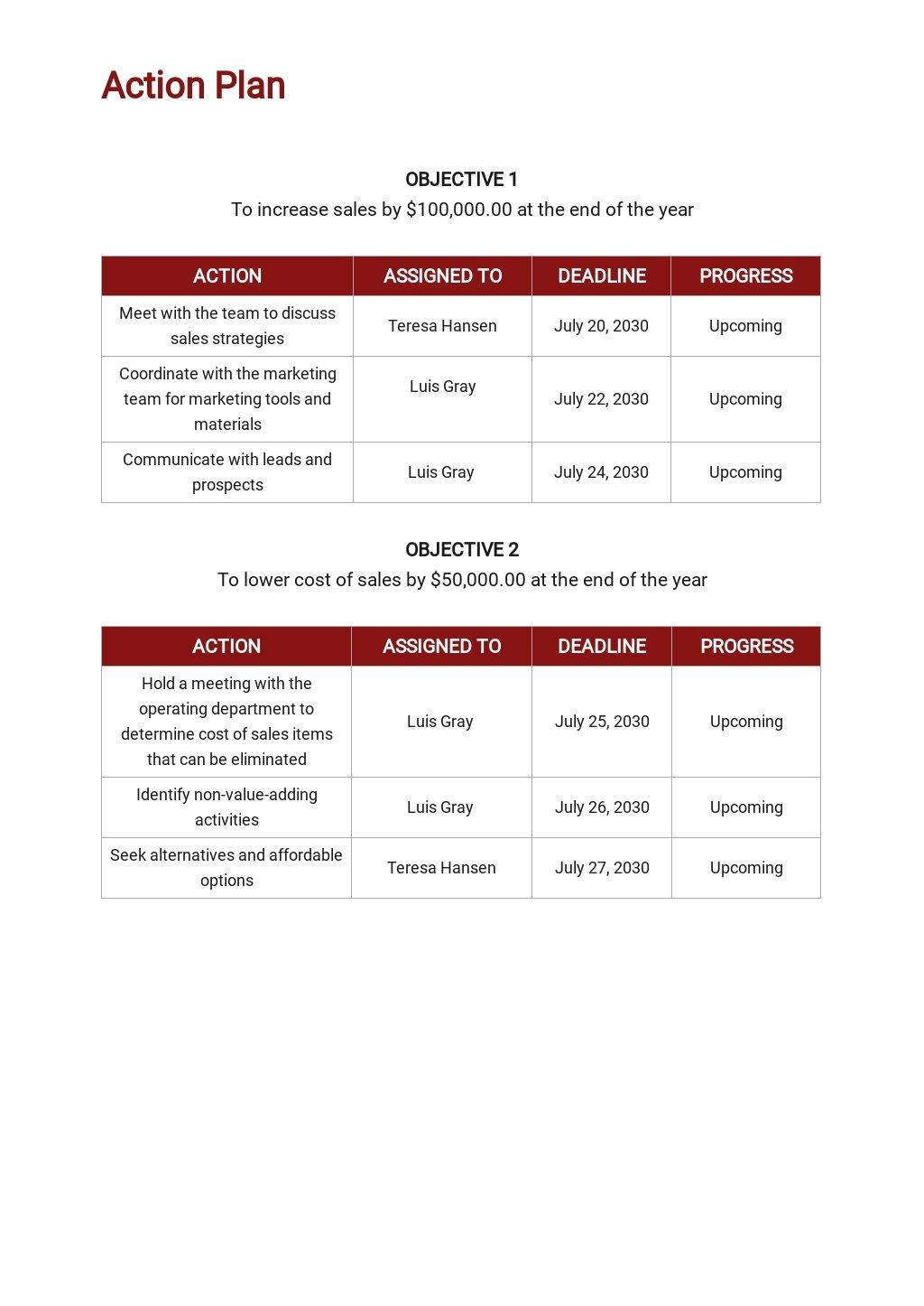 Free Sample Sales Action Plan Template 3.jpe