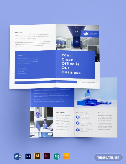 Office Cleaning Service Bi-fold brochure Template